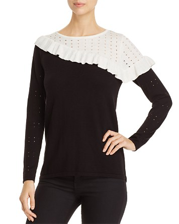 $Avec Ruffle Trimmed Color Block Sweater - Bloomingdale's