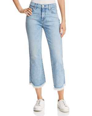 7 For All Mankind Ali Cropped Frayed-Cuff Jeans in Radiant Wythe 2764467