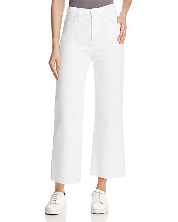 J Brand - Joan High-Rise Cropped Wide-Leg Jeans in Optic White