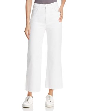 J Brand Joan High-Rise Cropped Wide-Leg Jeans in Optic White 2767118