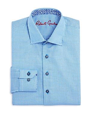 Robert Graham Boys DiamondPrint Dress Shirt  Big Kid