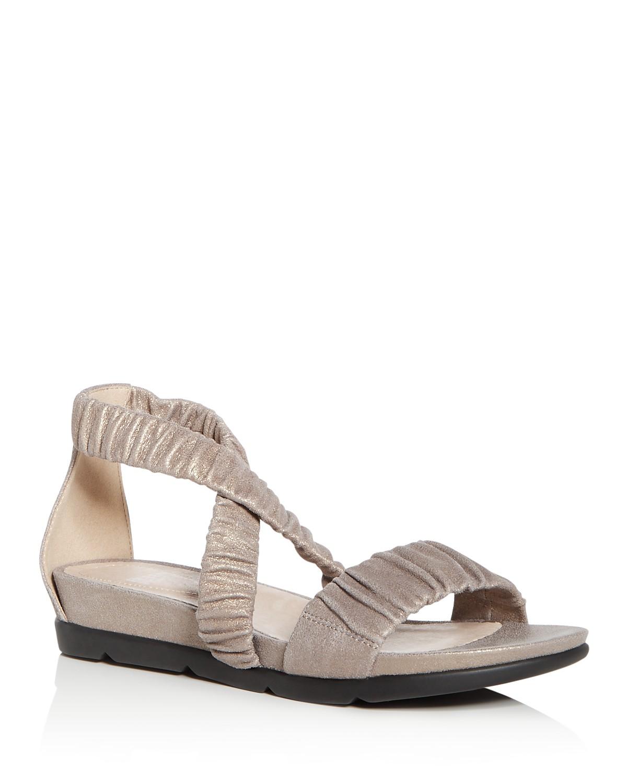 Eileen Fisher Women's Dylan Metallic Suede Demi Wedge Sandals 7ADJf9B