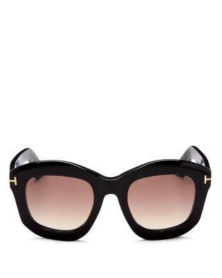 Julia 50Mm Gradient Square Sunglasses - Shiny Black Acetate/ Rose Gold, Shiny Black/Brown Gradient