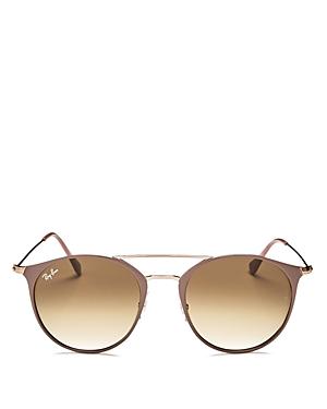 Ray-Ban Highstreet Brow Bar Round Sunglasses, 52mm