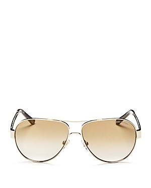 Tory Burch Mirrored Brow Bar Aviator Sunglasses, 55mm