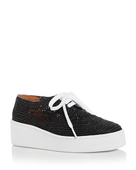 Clergerie - Women's Taille Raffia Lace Up Platform Sneakers