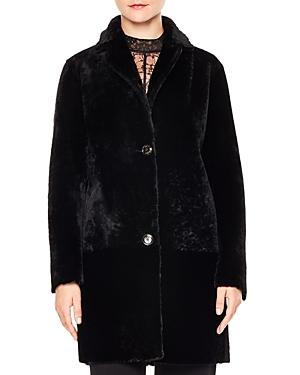 Sandro Sticky Real Lamb Shearling Coat