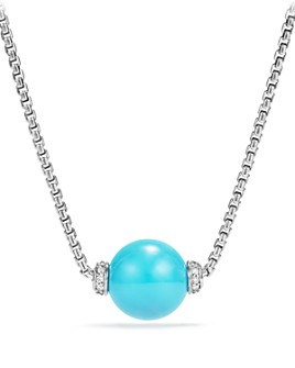 David Yurman - Solari Pendant Necklace with Diamonds and Reconstituted Turquoise