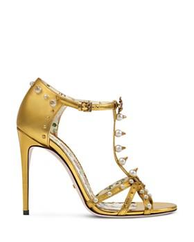 Gucci - Women's Regina Embellished Leather Strappy High-Heel Sandals