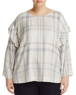 VINCE CAMUTO PLUS Ruffle-Trimmed Bell-Sleeve Plaid Blouse, Plus Size in Cream