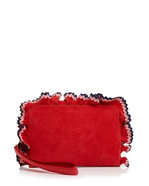 RUFFLE ATTACHE SUEDE CLUTCH