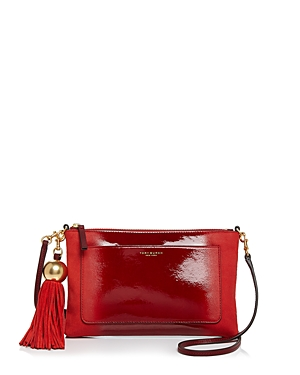 Tory Burch Ombre Tassel Patent Leather & Suede Crossbody