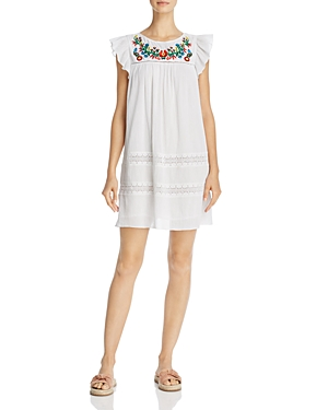 Rebecca Minkoff Boca Floral-Embroidered Ladder & Lace Inset Dress