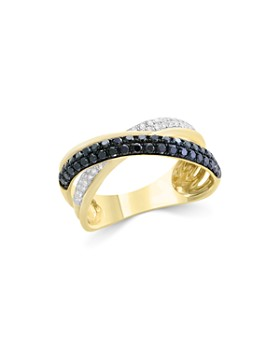 Bloomingdale's - Black & White Diamond Crossover Ring in 14K Yellow Gold - 100% Exclusive