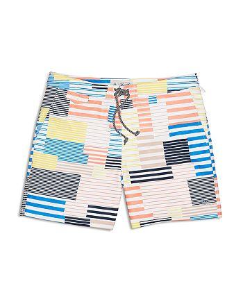 Original Penguin - 8-Bit Striped Swim Trunks