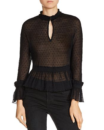 Maje - Laurine Dotted-Swiss Top