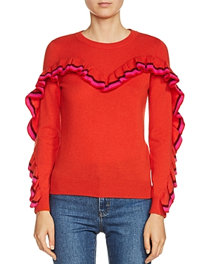 Maje Marinella Ruffled Wool-Blend Sweater
