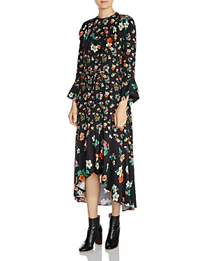 Maje Floral-Print Ruffled Midi Dress