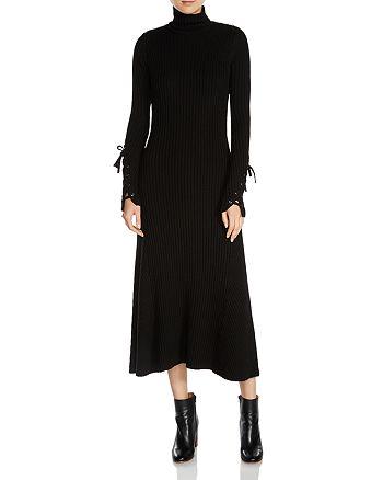 Maje - Rafaela Ribbed Knit Lace-Up Sleeve Midi Dress