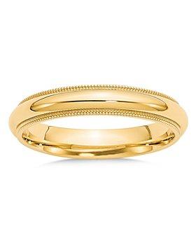Bloomingdale's - 14K Yellow Gold 4mm Milgrain Comfort Fit Wedding Band - 100% Exclusive