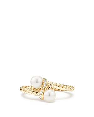 David Yurman Solari Bypass Ring with Cultured Akoya Pearl & Diamonds in 18K Gold