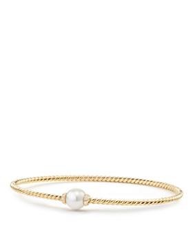David Yurman - Solari Station Bracelet with Cultured Akoya Pearl & Diamonds in 18K Gold