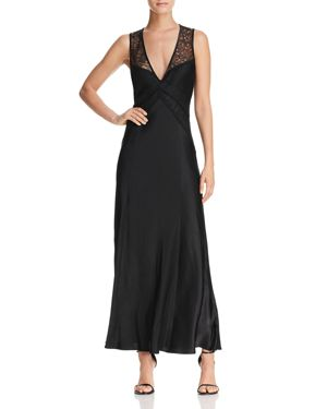 Donna Karan New York Lace-Top Satin Maxi Dress
