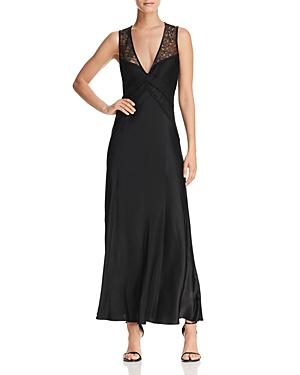 Donna Karan Lace-Top Satin Maxi Dress