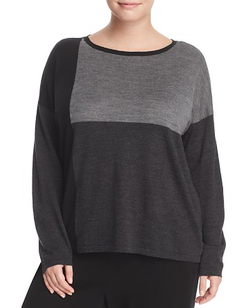 $Eileen Fisher Plus Color-Block Collection Boat Neck Sweater - Bloomingdale's