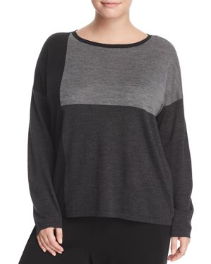 Eileen Fisher Plus Color-Block Collection Boat Neck Sweater 2776231