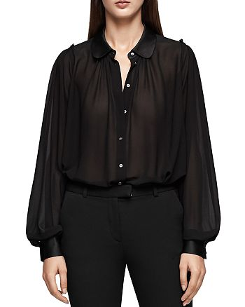 REISS - Keely Pleated Button-Down Top