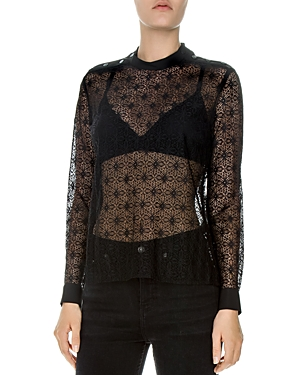 The Kooples Crossed Flowers Lace Top