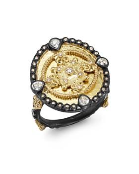 Armenta - 18K Yellow Gold & Blackened Sterling Silver Old World Diamond & White Sapphire Heraldry Ring
