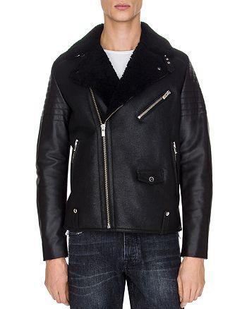 The Kooples - Sheep Shearling Collar Biker Jacket