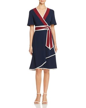 Tory Burch Peggy Color-Block Wrap Dress