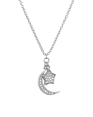 Aqua Sterling Silver Star & Moon Pendant Necklace, 16 - 100% Exclusive