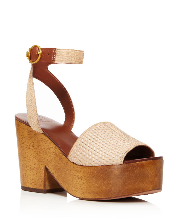 Tory Burch Women's Camilla Calf Hair & Leather Platform Sandals