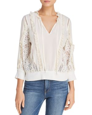 Rebecca Minkoff Essex Ruffled Lace-Inset Top