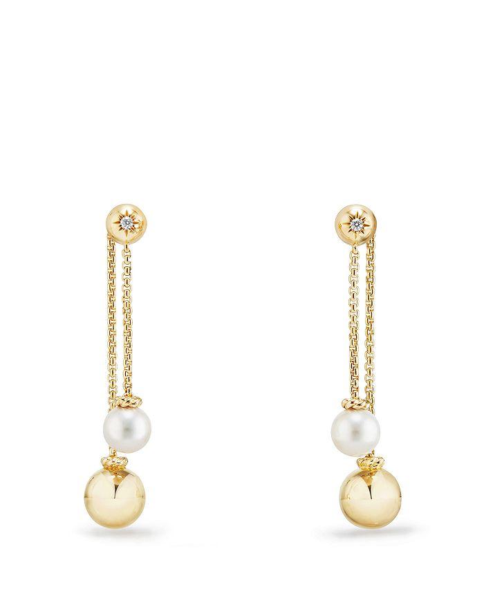 David Yurman - Solari Chain Drop Earrings with Cultured Akoya Pearls and Diamonds in 18K Gold
