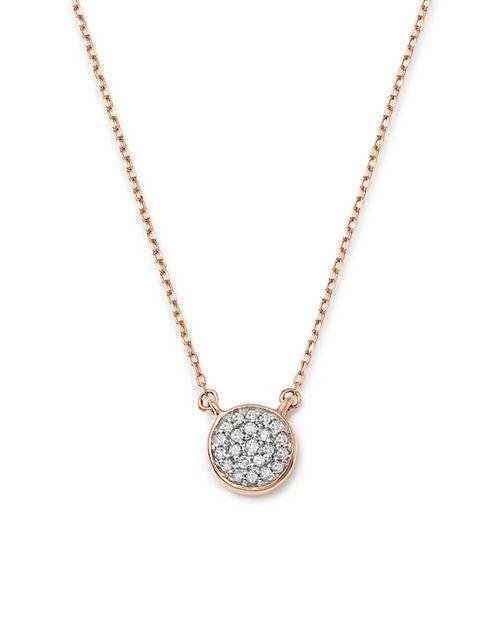 """Adina Reyter - 14K Rose Gold Pavé Diamond Disc Necklace, 15"""""""