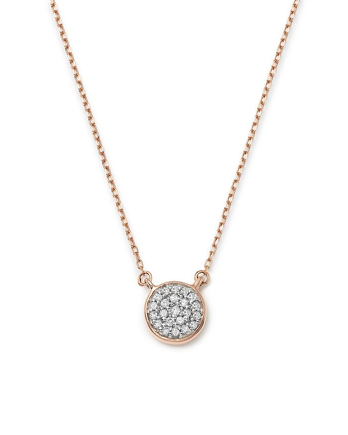 Adina Reyter - 14K Rose Gold Pavé Diamond Disc Necklace, 15""