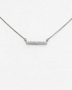 """Adina Reyter - 14K White Gold Pavé Diamond Bar Necklace, 15"""""""