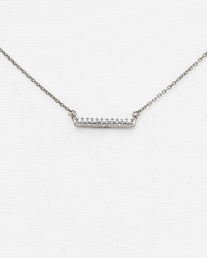 Adina Reyter - 14K White Gold Pavé Diamond Bar Necklace, 15""