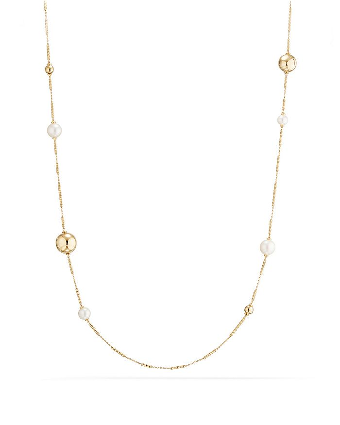 David Yurman - Solari Long Station Necklace with Cultured Freshwater Pearls in 18K Gold