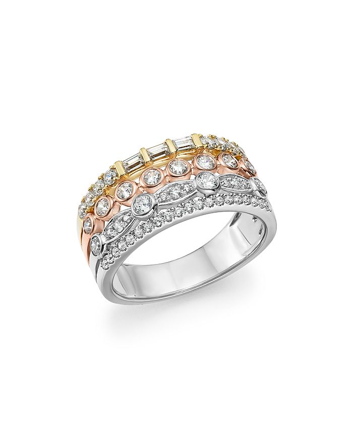 Bloomingdale's - Diamond Round & Baguette Multi Row Band in 14K Gold, 0.85 ct. t.w. - 100% Exclusive