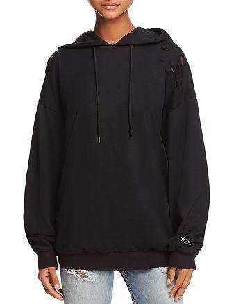 Honey Punch - Oversized Distressed Hooded Sweatshirt - 100% Exclusive
