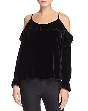 Joie Alyse Cold-Shoulder Velvet Top