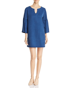 Side Stitch Bell Sleeve Chambray Tunic Dress