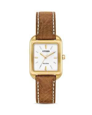 CITIZEN ECO-DRIVE WOMEN'S SILHOUETTE BROWN LEATHER STRAP WATCH 23X32 EM0492-02A