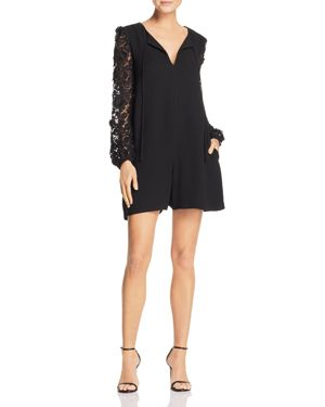 French Connection Malaita Lace-Sleeve Romper